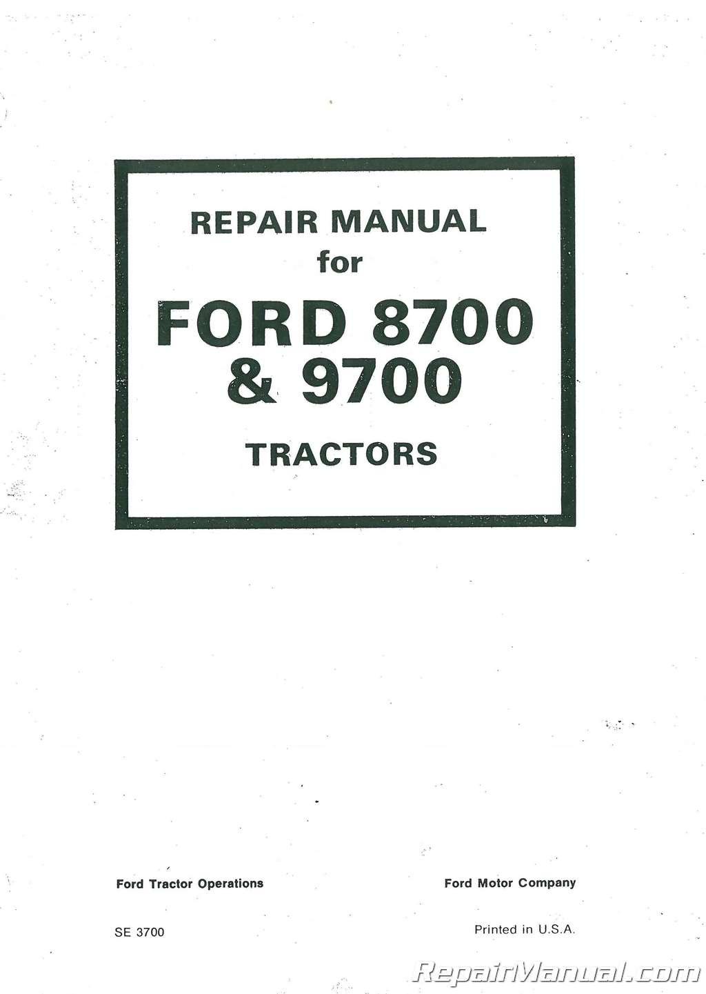 Ford Tractor Repair Manual 9700 8n Parts Diagram 8700 And Service Rh Repairmanual Com Pdf 6700