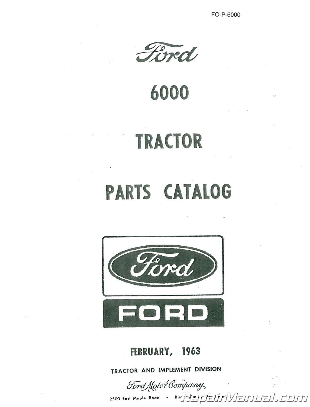 Ford New Holland 6000 And Commander 6000 Parts Manual