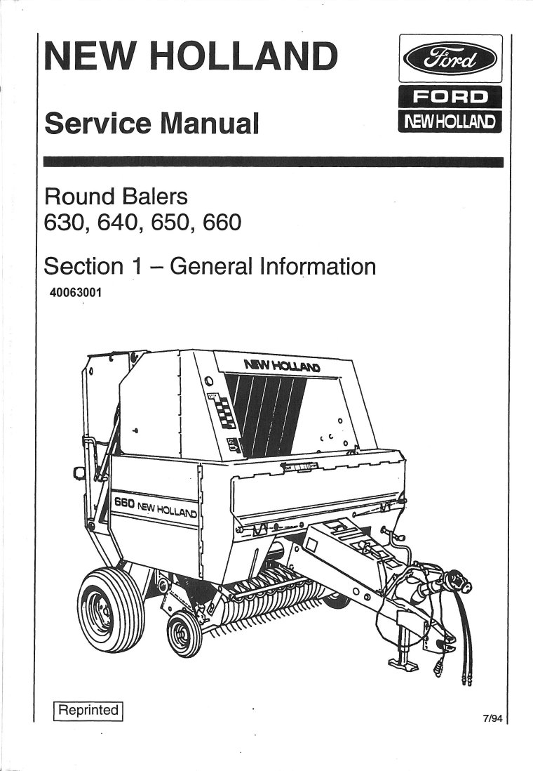New Holland Tractor Manuals : Ford new holland  large round baler service