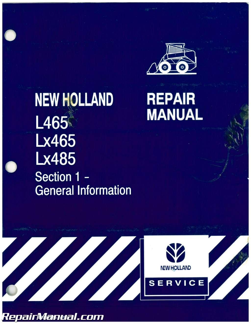 New holland l465 lx465 lx485 skid steer loader service repair.