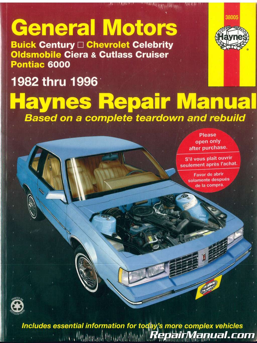 GM Buick Century Chevrolet Celebrity Oldsmobile Ciera Cutlass Cruiser  Pontiac 6000 1982-1996 Haynes Repair Manual