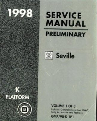 Used 1998 Cadillac Seville Preliminary Service Manual Vol 1
