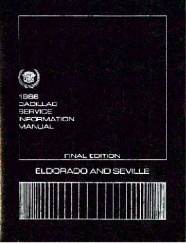 1986 Cadillac Eldorado and Seville Service Information Repair Manual Used