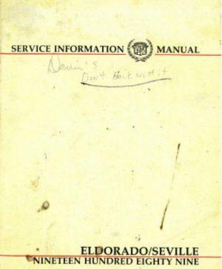 Used 1989 Cadillac Eldorado And Seville Service Information Manual