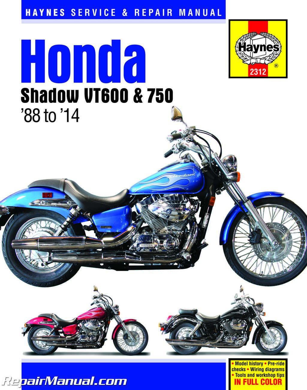 Haynes Honda Shadow Repair Manual 2312 Hm2312 Ebay 1984 700 Wiring Diagram 1988 2014 Vt600 Vt750 Motorcycle H2312