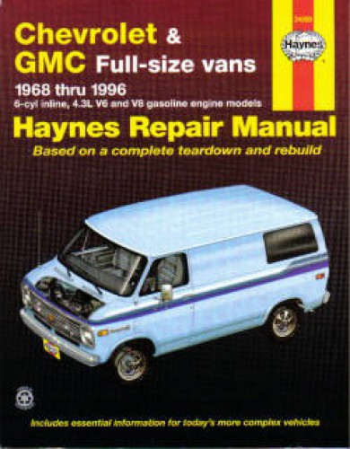 haynes chevrolet gmc full size vans 1968 1996 auto repair manual rh repairmanual com GMC Repair Manual PDF 92 GMC Repair Manuals GMC