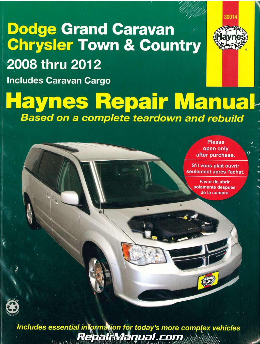 dodge grand caravan chrysler town country van 2008 2012 haynes car repair manual. Black Bedroom Furniture Sets. Home Design Ideas