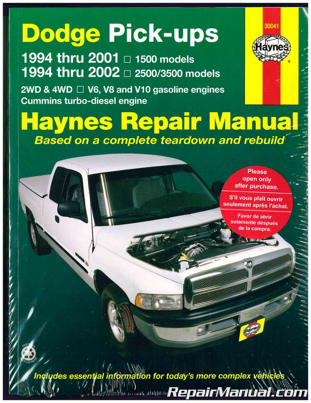 Dodge 1994-2001 1500 1994-2002 2500 3500 Pickup Truck Haynes Repair Manual