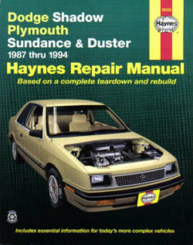 Haynes Dodge Shadow Plymouth Sundance and Duster 1987-1994 Auto Repair Manual