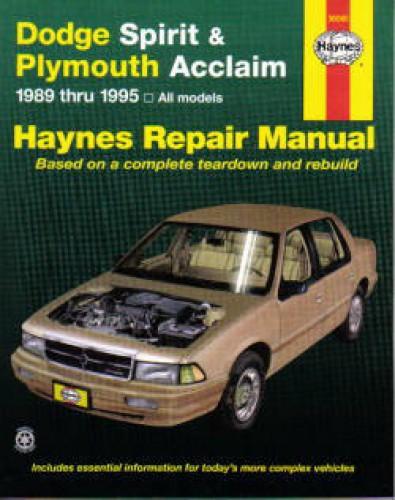 haynes dodge spirit plymouth acclaim 1989 1995 auto repair. Black Bedroom Furniture Sets. Home Design Ideas
