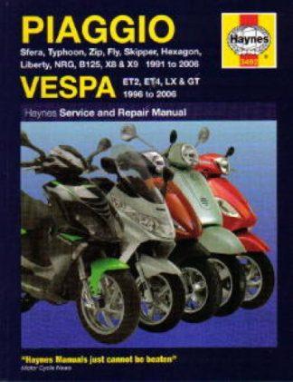 Haynes Piaggio Vespa ET2 ET4 LX GT Scooters 1991-2009 Repair Manual