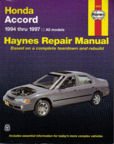 Haynes Honda Accord 1994 1997 Honda Repair Manual border=