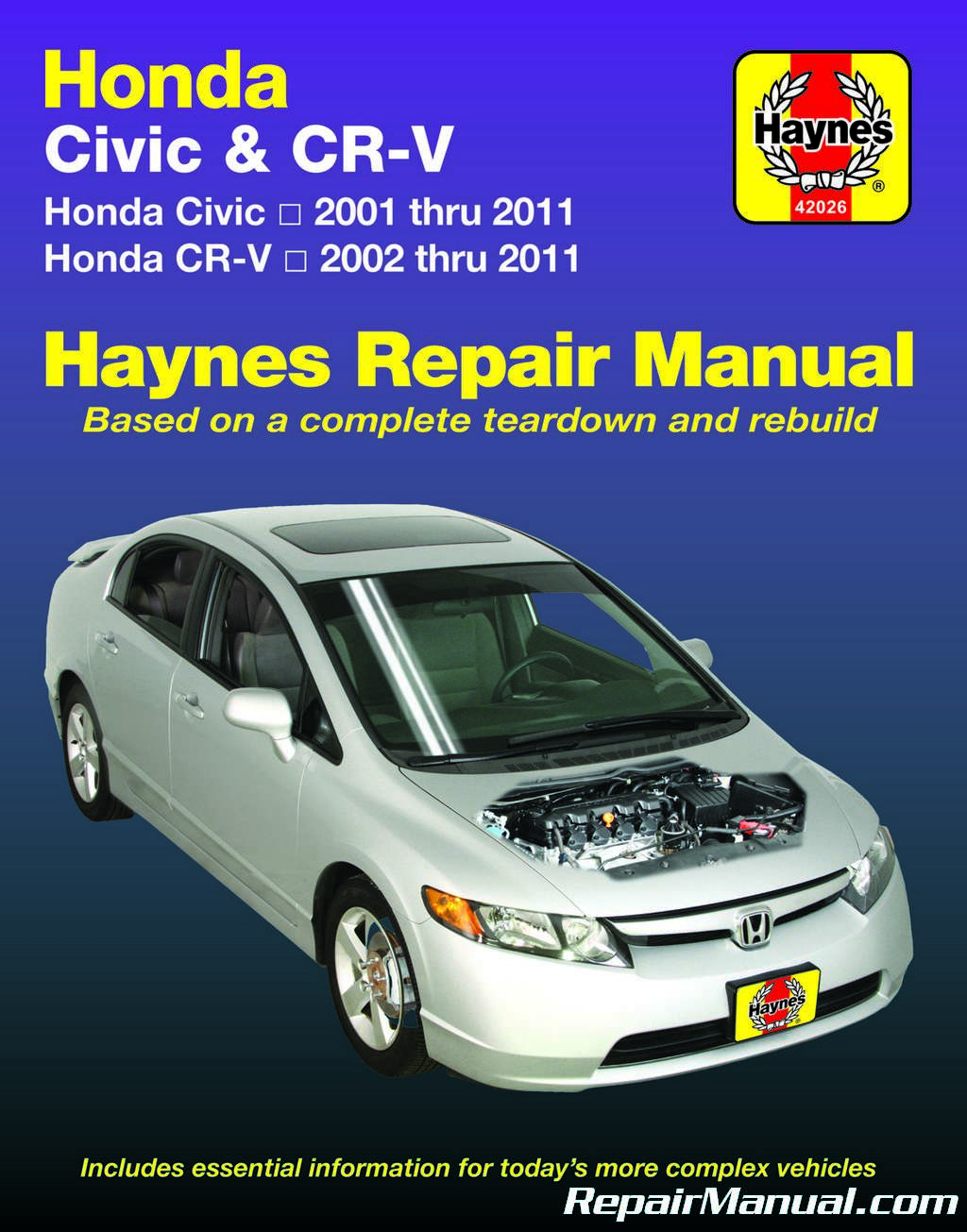 haynes honda civic 2001 2011 cr v 2002 2011 car service repair manual rh repairmanual com haynes manual honda civic 2006 haynes manual honda accord