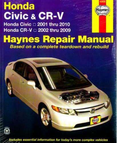haynes honda civic 2001 2010 cr v 2002 2009 car service. Black Bedroom Furniture Sets. Home Design Ideas