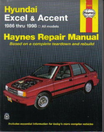 haynes hyundai excel accent 1986 1998 auto repair service manual rh repairmanual com 2009 Hyundai Elantra Repair Manual Hyundai Elantra Service Manual
