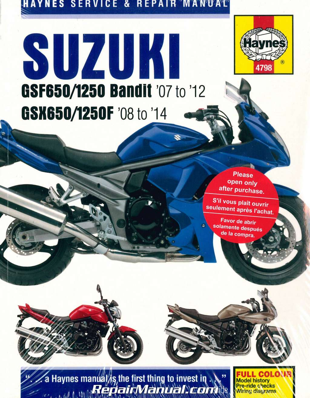 GSF650 GSF1250 Bandit / GSX650F 2007-2014 Suzuki Motorcycle Repair Manual  Haynes