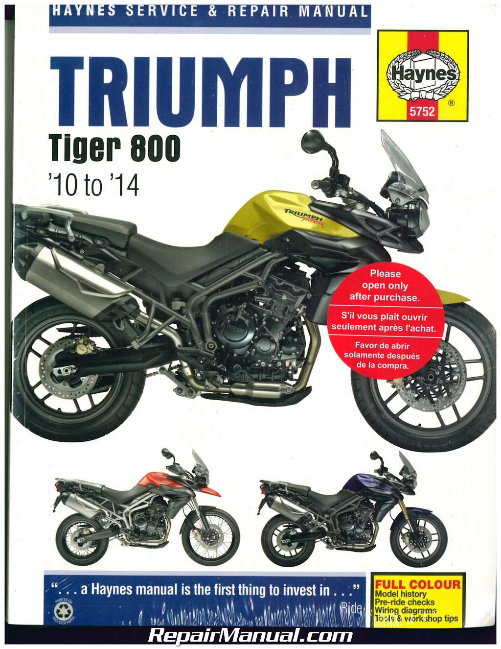 triumph tiger 800 800 xc 2010 2014 haynes motorcycle repair manual rh repairmanual com triumph tiger 800 service manual tiger 800 service manual