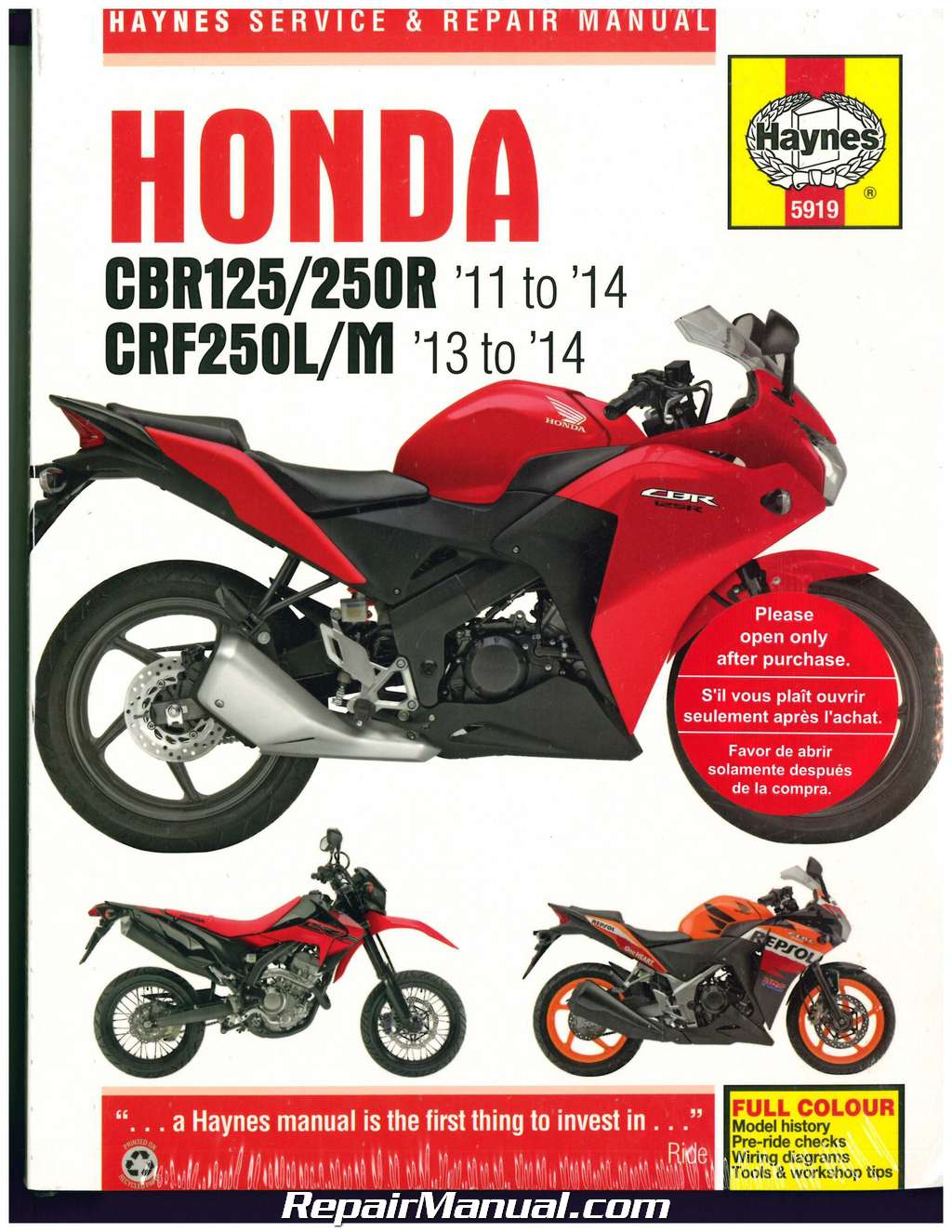 honda cbr125 250r 2011 2014 crf250l m 2013 2014 haynes. Black Bedroom Furniture Sets. Home Design Ideas