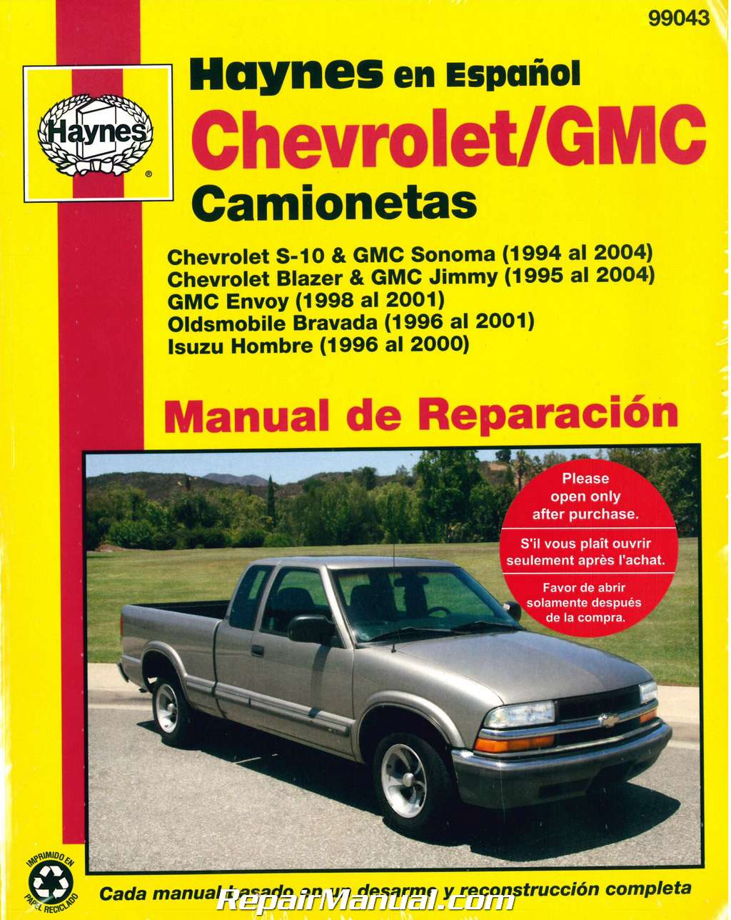 chevy s 10 gmc sonoma pick ups 1994 2004 repair manual espanol spanish rh  repairmanual com 1998 GMC Sonoma Interior 1998 gmc sonoma service manual