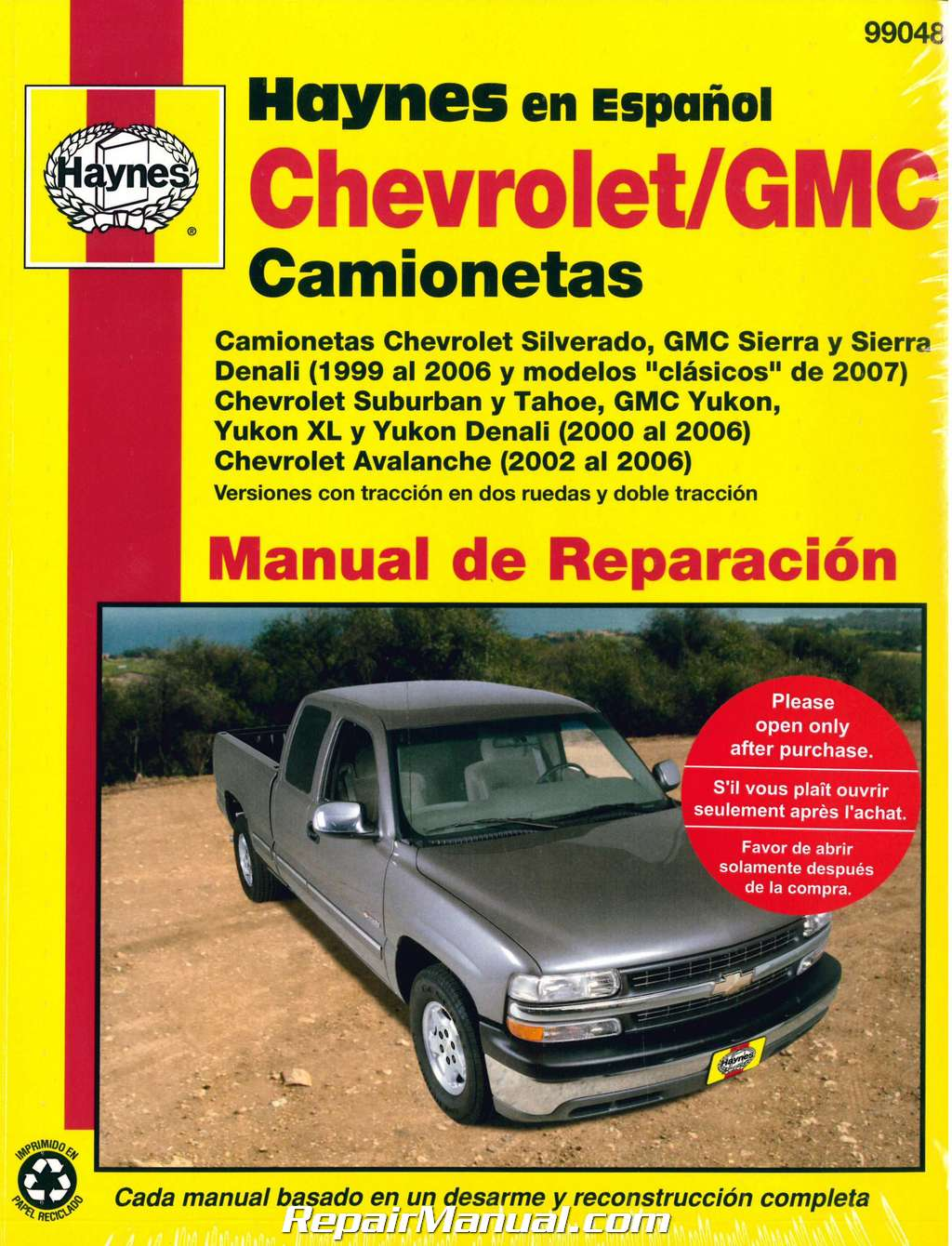 1999 2007 chevrolet gmc pick ups suvs repair manual espanol spanish rh repairmanual com 2000 Yukon XL 2000 Yukon XL
