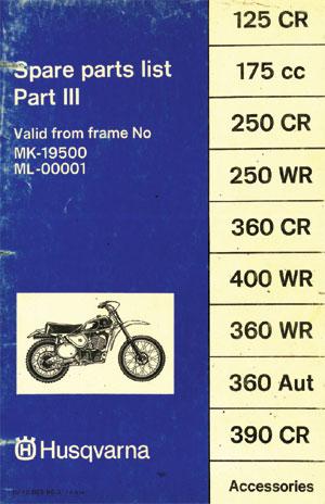 Husqvarna 1975-1977 125 175 250 360 390 400 Spare Parts Manual