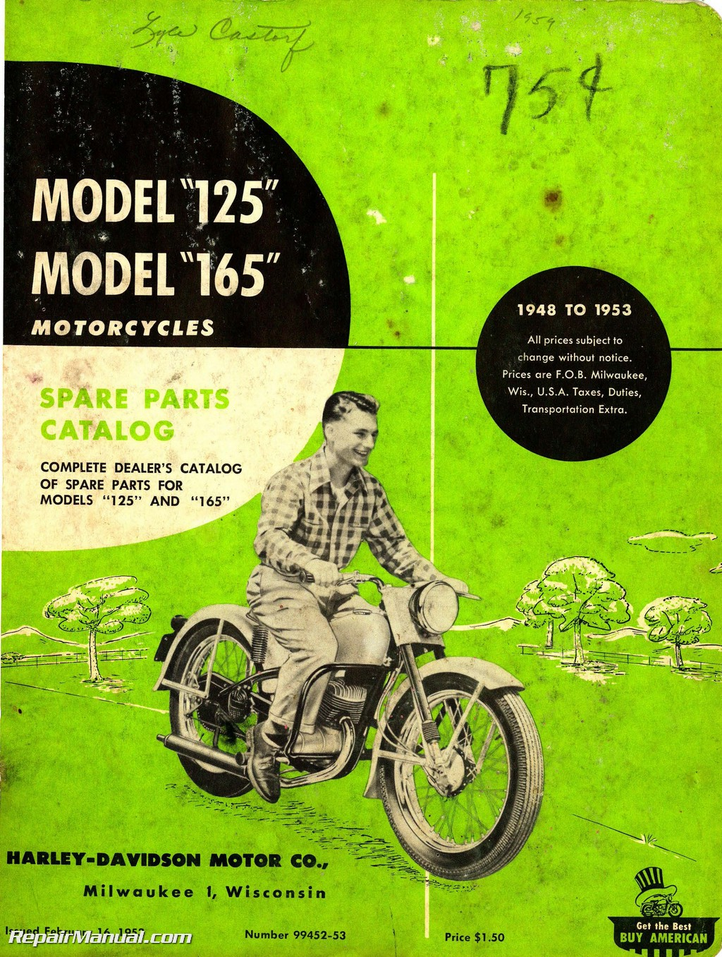 Harley Davidson 125 165 1948 – 1953 Motorcycle Spare Parts Manual