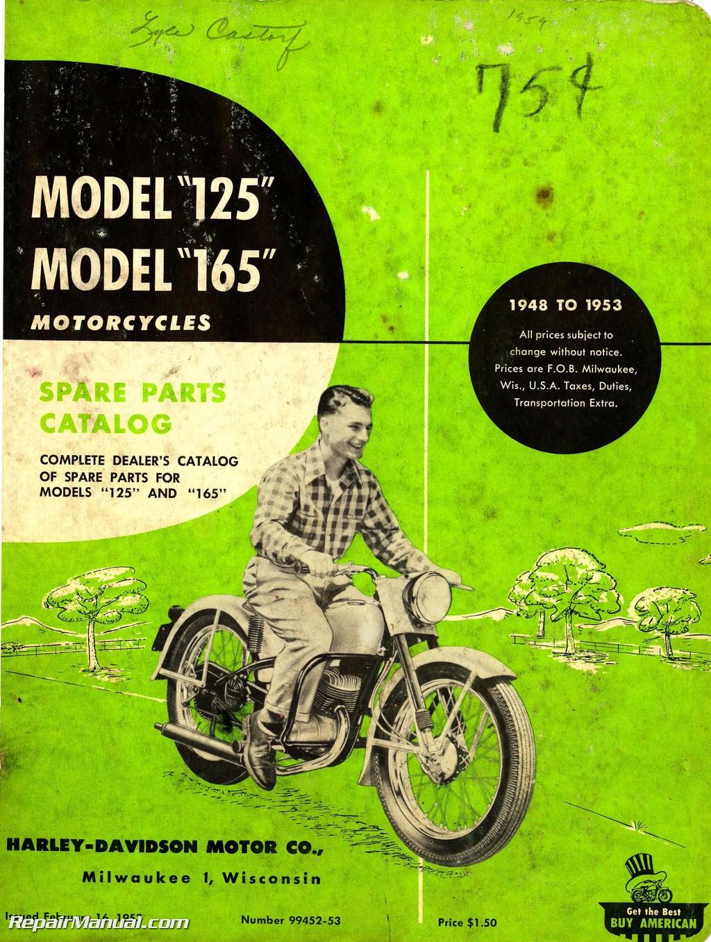 harley davidson 125 165 1948 – 1953 motorcycle spare parts manual