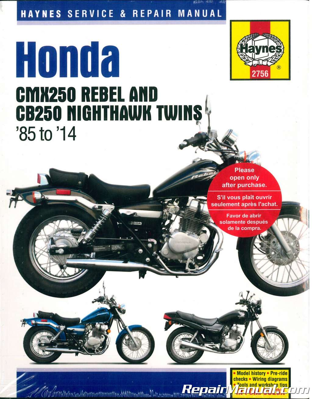Haynes 1985-2014 Honda CMX250 Rebel CB250 Nighthawk Twins Motorcycle Service  Repair Manual