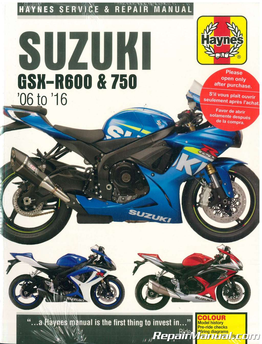Haynes 2006 2016 Suzuki Gsx R600 R750 Motorcycle Repair Manual Wiring Diagrams