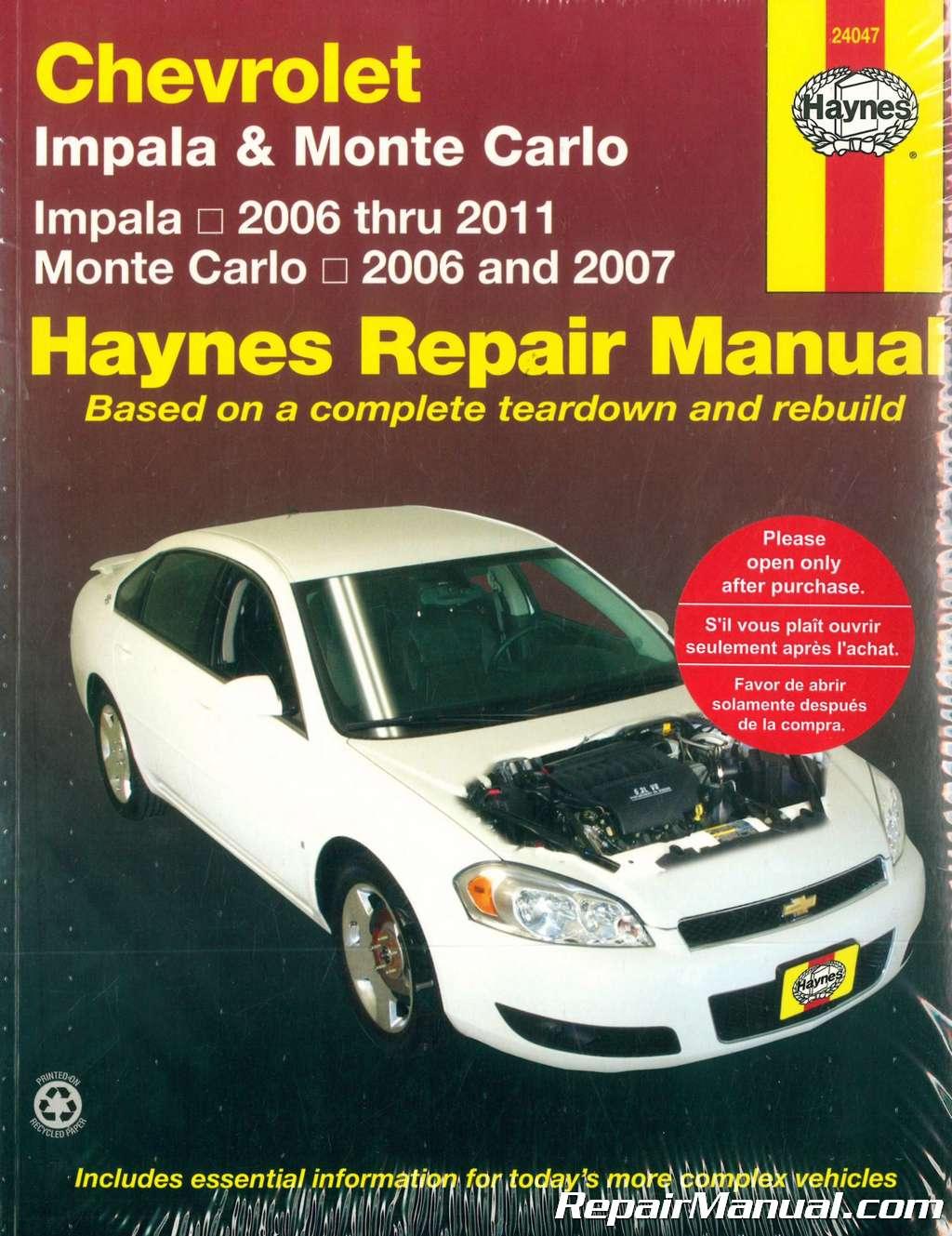 Haynes Chevrolet Impala Monte Carlo 2006-2011 Auto Repair Manual