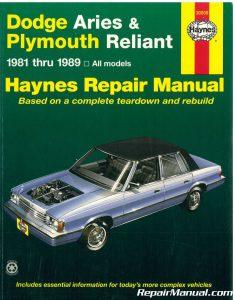 Haynes Dodge Aries Plymouth Reliant 1981-1989 Auto Repair Manual_001