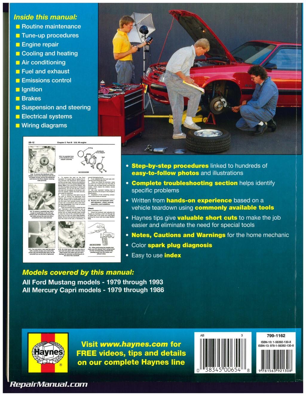 Haynes Ford Mustang 1979 1993 Mercury Capri 1986 Auto Repair Manual 1983 Wiring Diagram