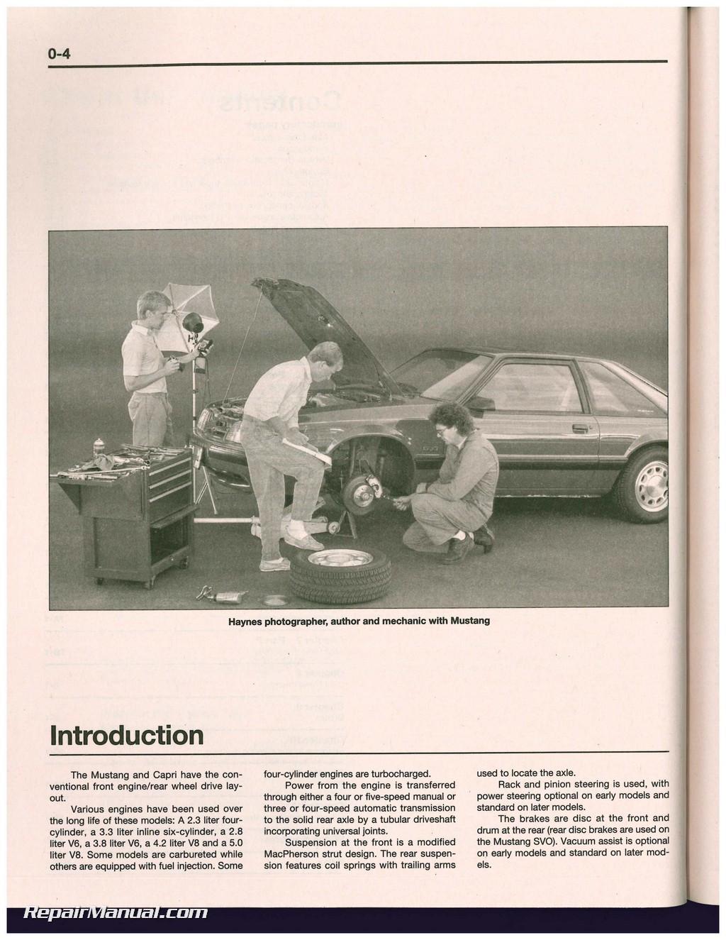 haynes ford mustang 1979 1993 mercury capri 1979 1986 auto repair manual rh repairmanual com Haynes Manual Pictures Back Haynes Manual for Quads