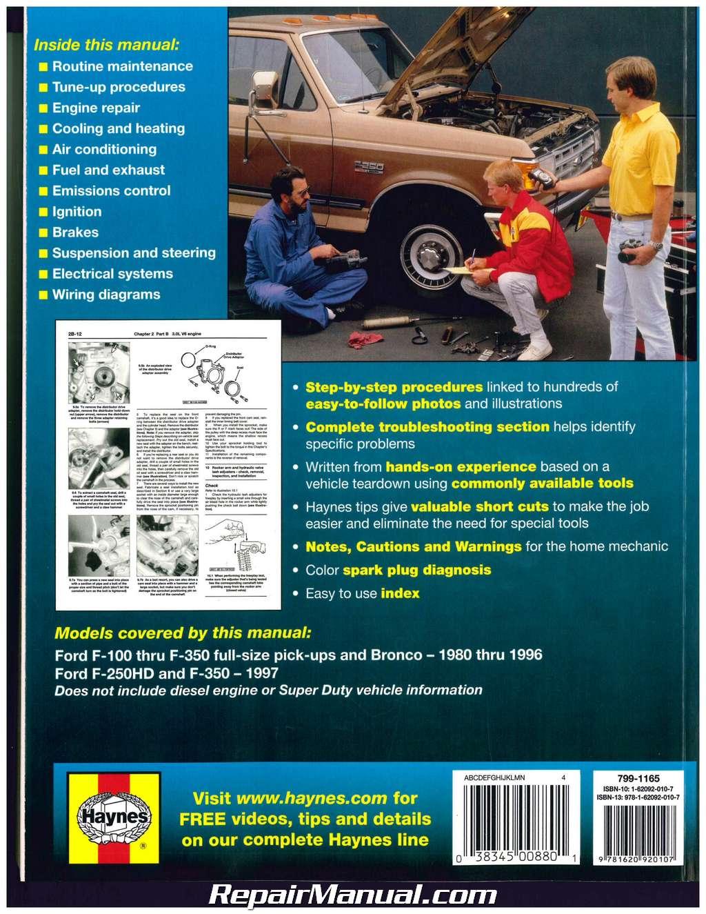 Ford Pickup Trucks Bronco 2wd 4wd 1980 1997 Haynes Auto Repair Manual Full Size