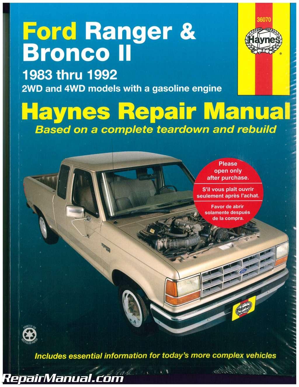 Ford Ranger Pick-up Trucks and Bronco II 1983-1992 Haynes Truck Repair  Manual