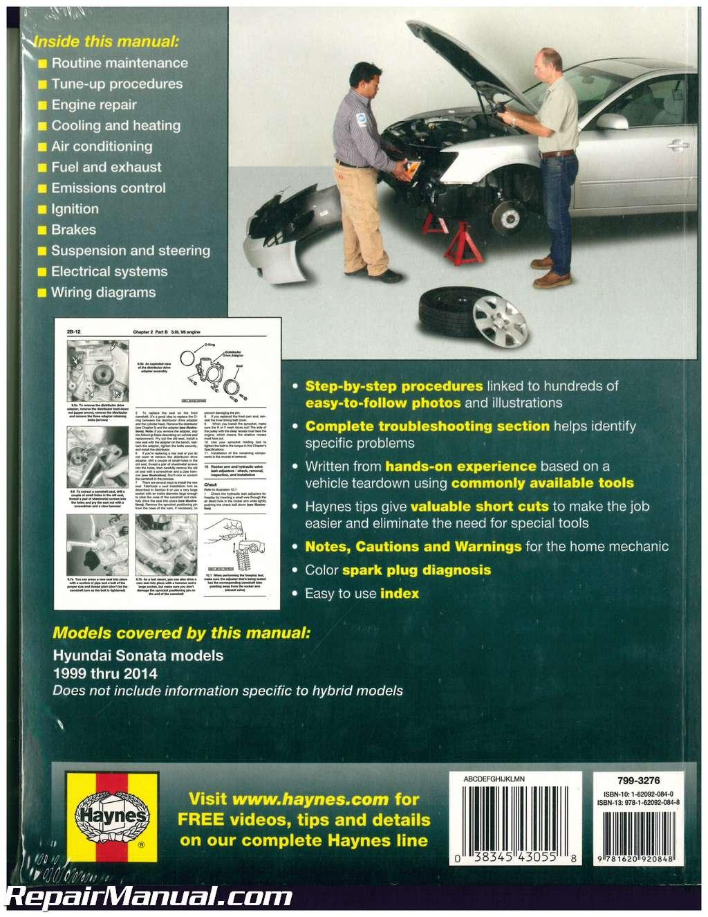 haynes hyundai sonata 1999 2014 auto repair manual rh repairmanual com