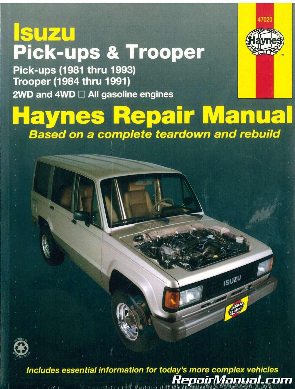 haynes isuzu trooper pick ups 1981 1993 auto repair manual rh repairmanual com 1991 isuzu trooper owners manual pdf 1995 Isuzu Trooper