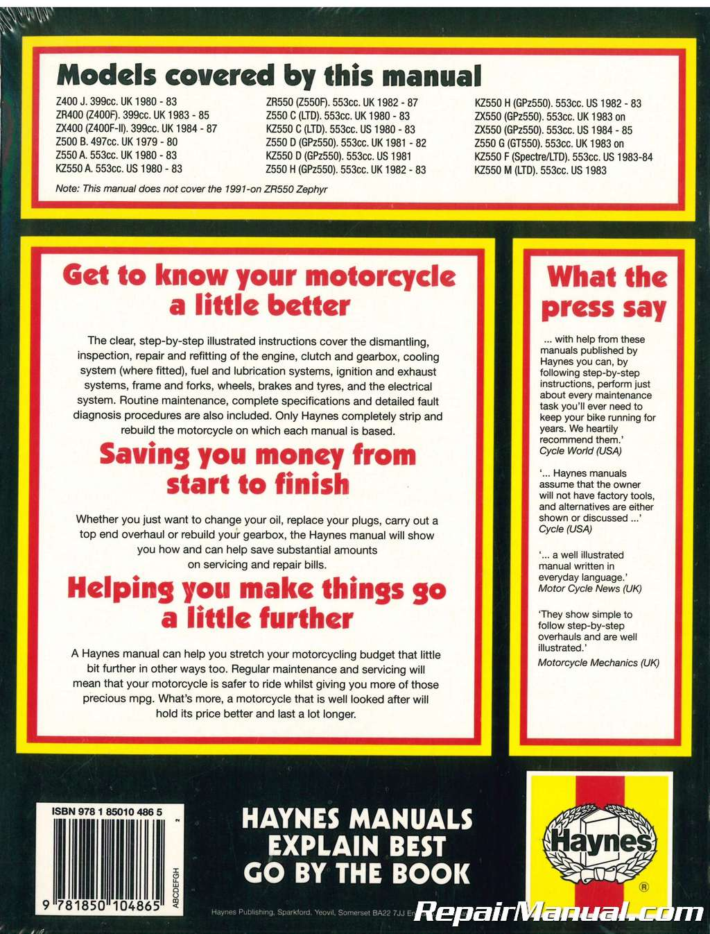 Haynes Kawasaki KZ Z ZR ZX 400 500 550 1979-1991 Motorcycle Owners Workshop  Manual
