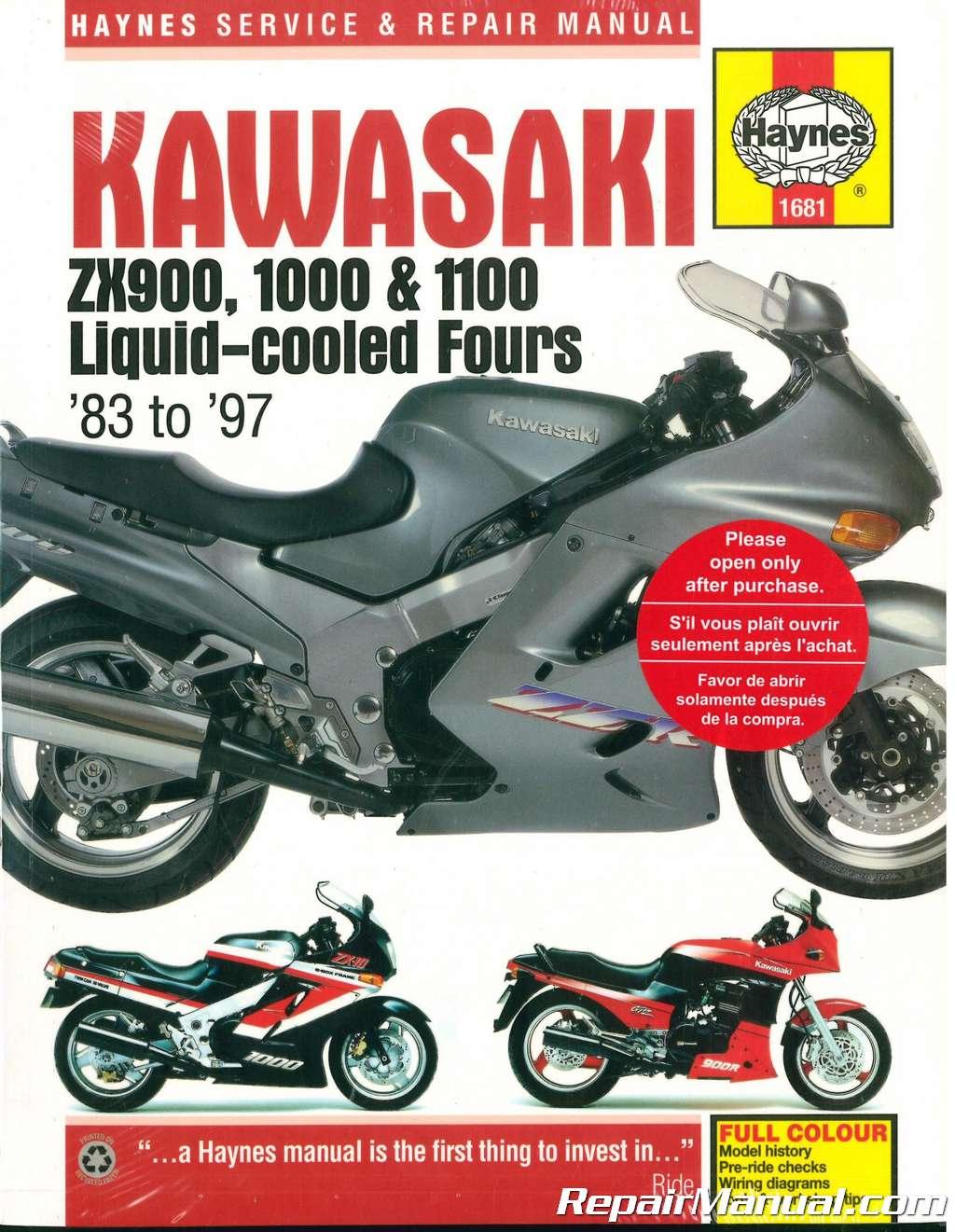 haynes kawasaki zx900 zx1000 zx1100 ninja 1983 1997 repair manual rh  repairmanual com 1985 Kawasaki Ninja ZX9 1986 Kawasaki ZX1000 Ninja