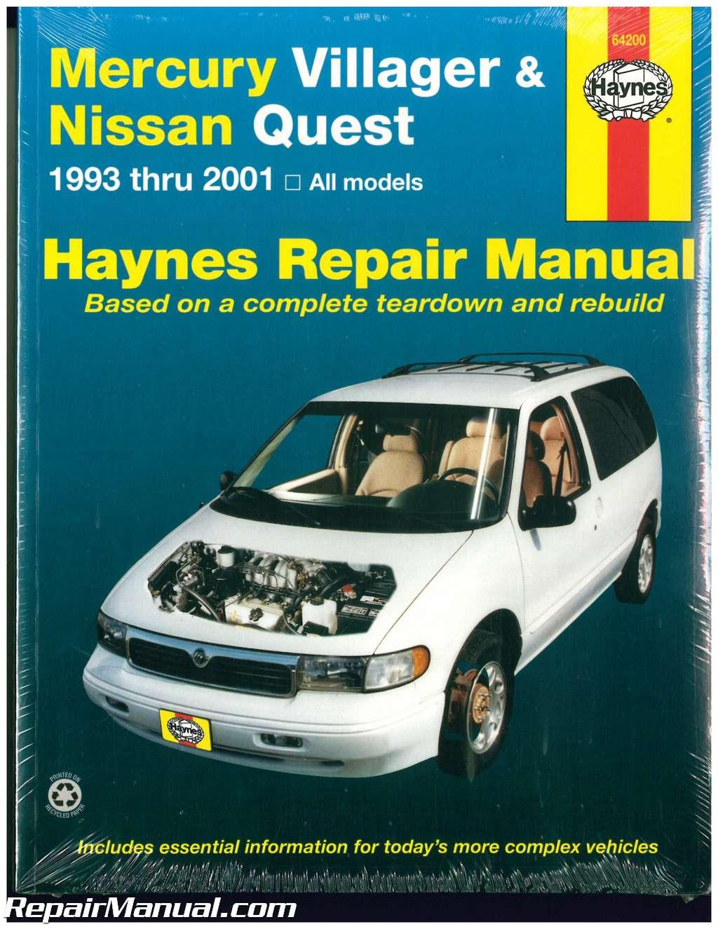 Haynes Mercury Villager Nissan Quest 1993 2001 Auto Repair Manual