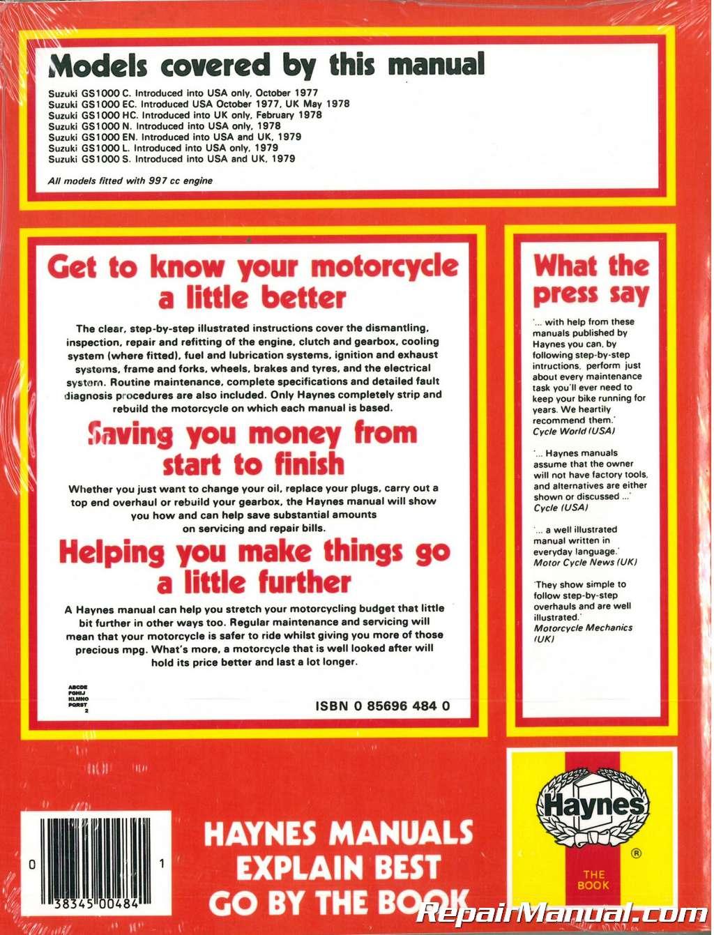 Genuine Haynes Workshop Manual 0484 Suzuki GS1000 Four 1977-1979 ...