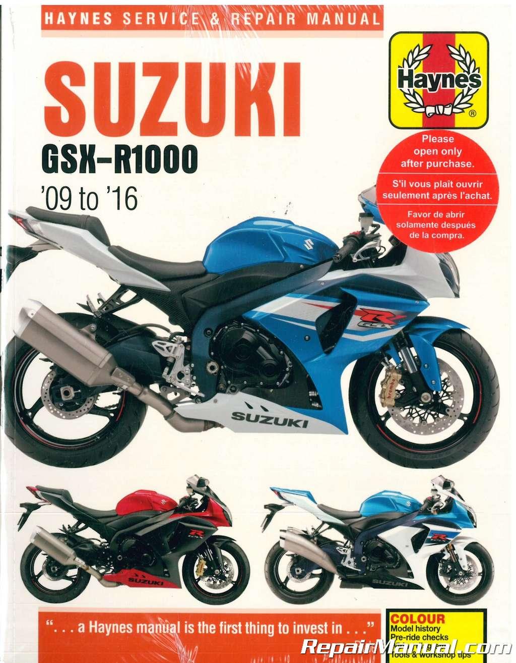 haynes suzuki gsx r1000 2009 2016 motorcycle repair manual rh repairmanual com Motorcycle and Small Engine Repair 1979 Suzuki GS550