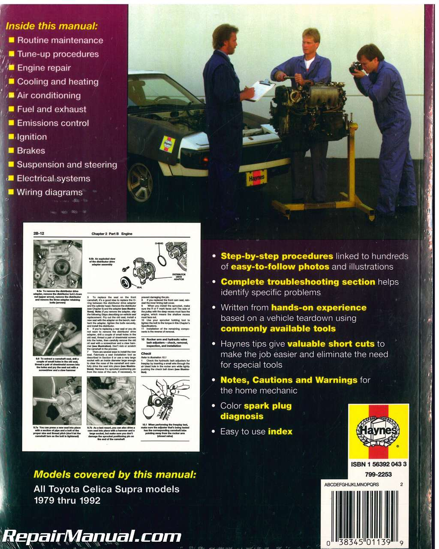 Haynes Toyota Celica Supra 1979 1992 Auto Repair Manual H92025 Wiring Diagram 1984