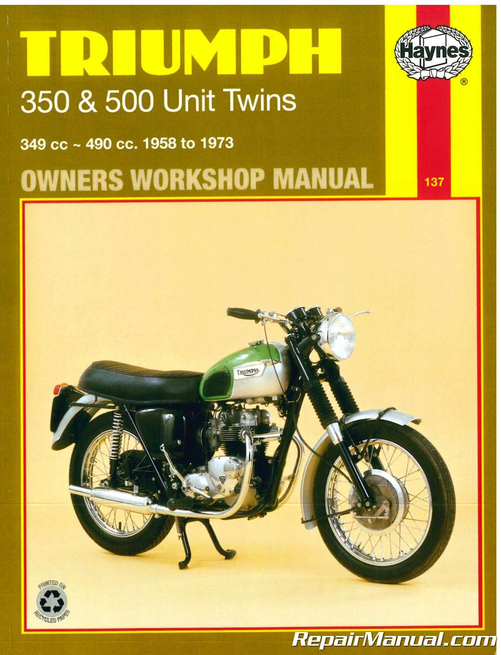 Haynes Triumph 350 500 Unit Twins 1957-1973 Motorcycle Owners Workshop  Manual