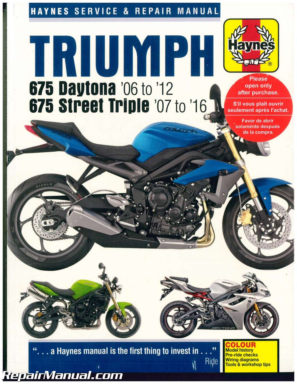 haynes triumph 675 daytona 2006 2012 street triple 2007 2016 rh  repairmanual com triumph tr7 repair manual triumph workshop manual pdf