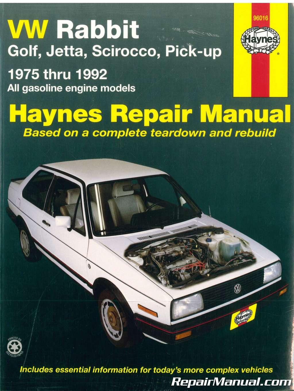 Haynes VW Rabbit Jetta Scirocco Pick-up Convertible gasoline engine  1975-1992 Auto Repair Manual