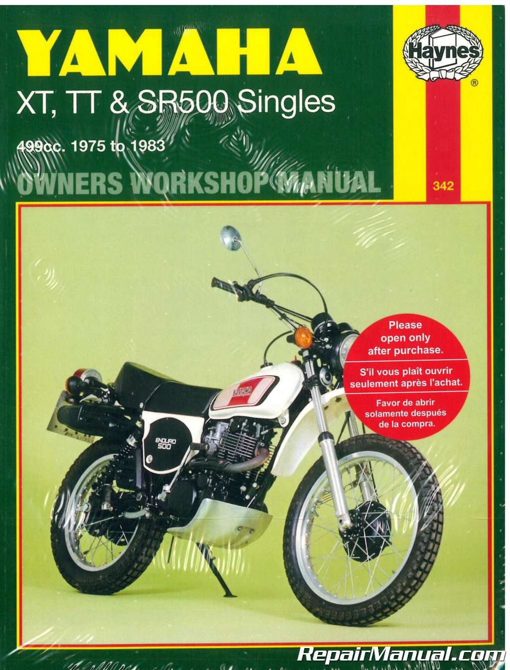 Haynes Yamaha Xt500 Tt500 Sr500 1975 1983 Motorcycle Workshop Manual