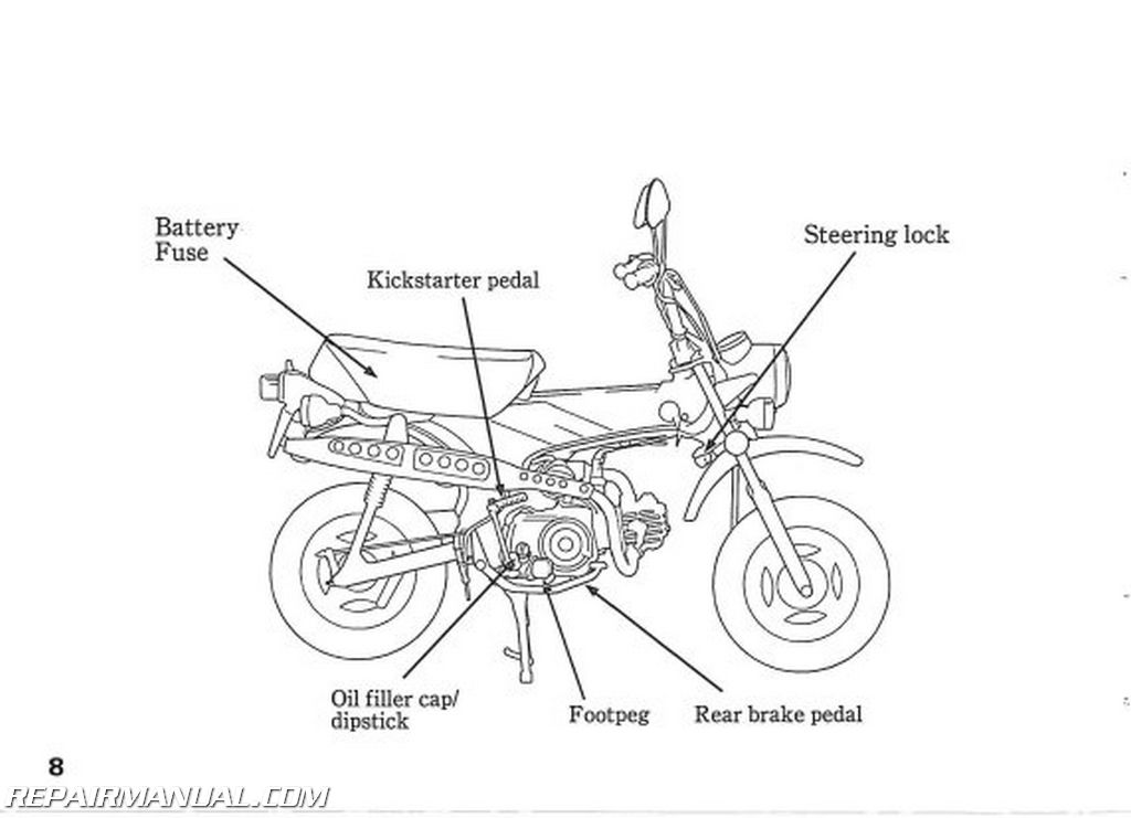 1993 Honda CT70 Scooter Owners Manual on 90 accord engine diagram, honda civic engine diagram, honda vtec engine diagram,