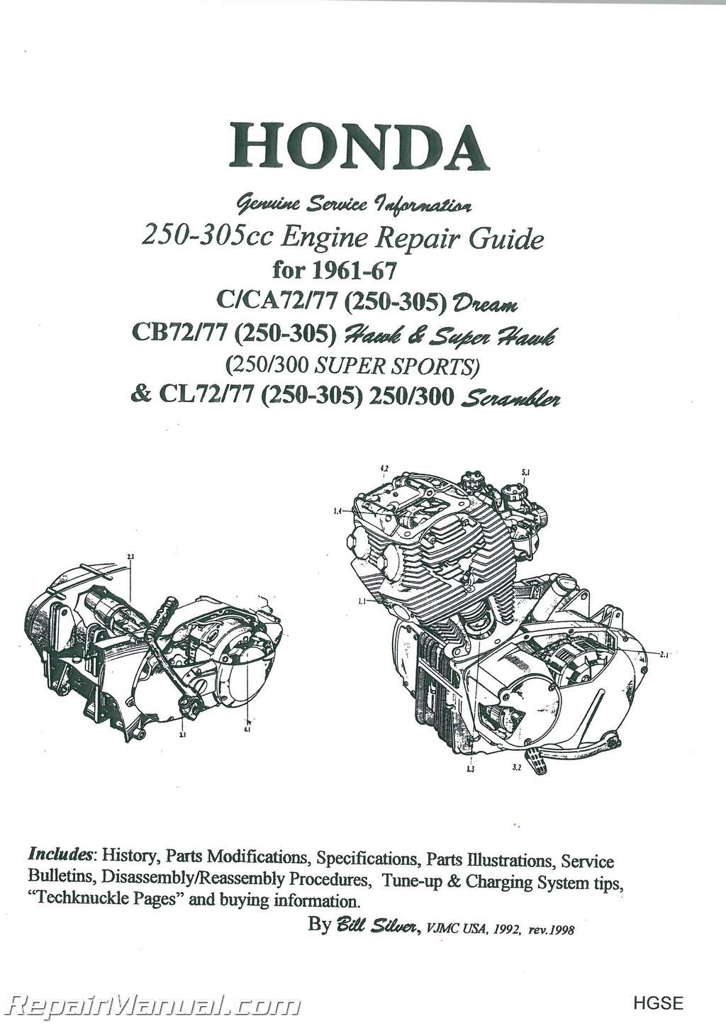 honda 250 305cc dream hawk super hawk motorcycle engine repair guide rh repairmanual com honda parts interchange guide honda parts guide
