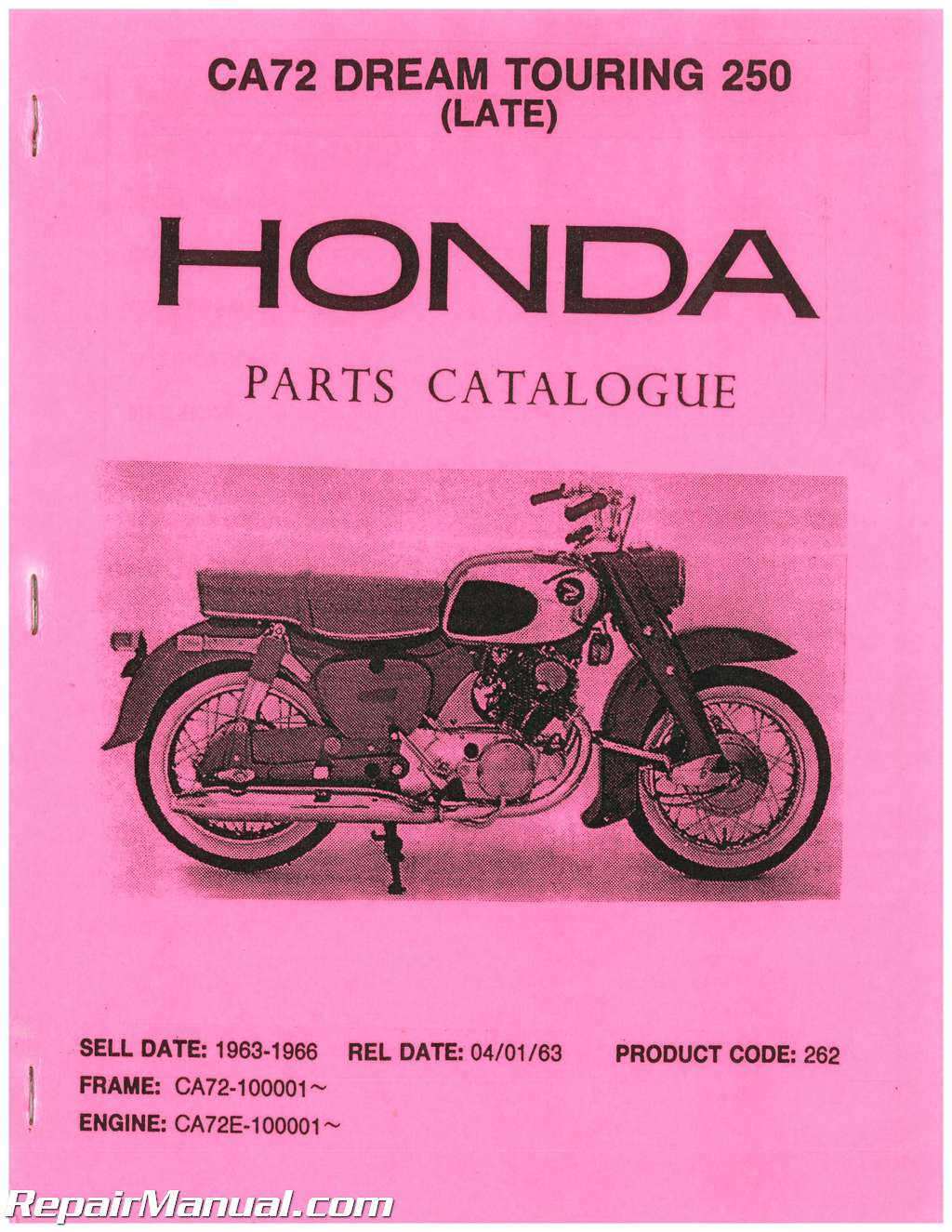 Honda Dream Parts Diagram Electrical Wiring Cl77 Ca72 Touring 250 Manual Rh Repairmanual Com Motorcycles